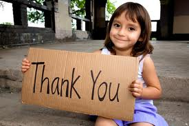 Thank you sign with girl 012814